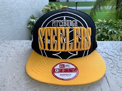 8658f5a313b Rare New Era Men s 9Fifty Hat NFL Pittsburgh Steelers Team Black Gold  Snapback