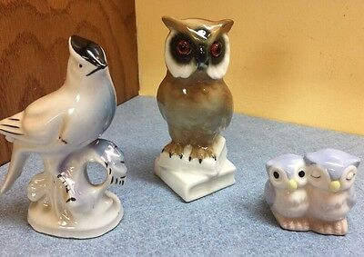 Lot of Mini Porcelain Bird Figurines 2 Owls, 1 Blue Jay, Very Cute Lot!!