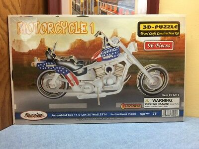 Chopper Style MOTORCYCLE 1 Woodcraft Construction Kit 3D Puzzle#1215-96 Pieces