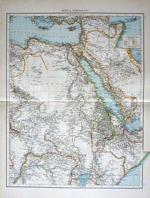 1895 Large Victorian Map ~ Africa North-East ~ Arabia Egypt