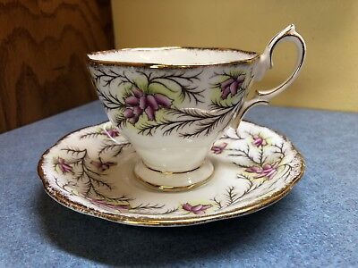 Royal Albert Pink Flower Heather Bell Pattern Cup and Saucer gold trim scalloped
