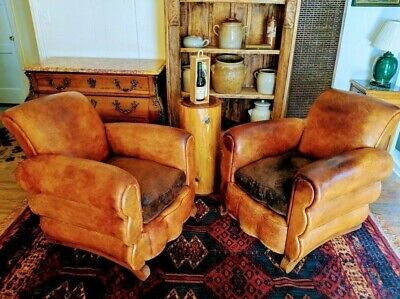 "LEATHER CLUB CHAIRS  French Art Deco 1920s ""Le Chalet de Courchevel"""