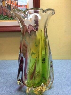 Vintage Ribbed Swirled Art Glass 8 Inch Green Cranberry Pink Vase Scalloped Rim