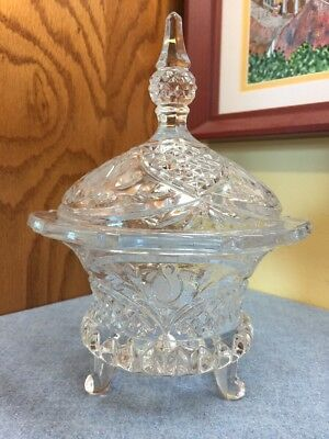 Vintage Clear Crystal Etched Rose Footed Candy Dish w/ Steeple Lid. Heavy