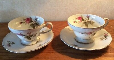 lot 2 sets Royal Sealy fine china of Japan, Cup and Saucer red Roses Vintage