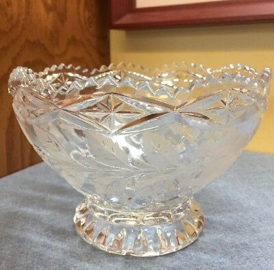 Vintage GLASS BOWL SAWTOOTH EDGE Etched Embossed Roses and Leaves pattern