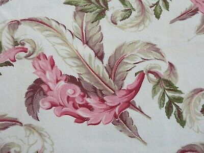 ROMANTIC Plumes  40's Textured BARKCLOTH PINK Florida Tropical on Creamy White