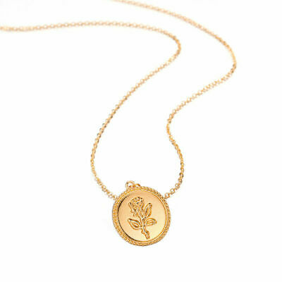 2019 New Fashion Vintage Gold Rose Flower Necklace Women Chain Pendant Charm