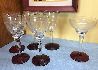 6 Vintage Crystal Etched Glass Floral Red Base Wine Glasses Stemware 6""
