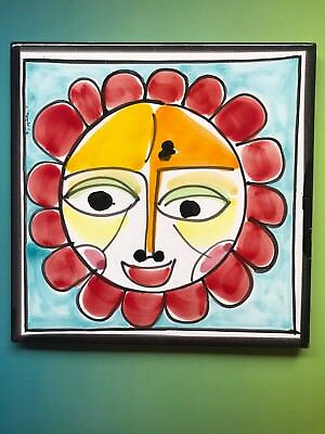 VINTAGE PICASSO STYLE Sun Art TILE PAINTING ABSTRACT EXPRESSIONISM Ceramic