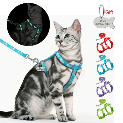 Reflective Escape Proof Cat Walking Harness Leash Set Puppy Personalized ID Tags