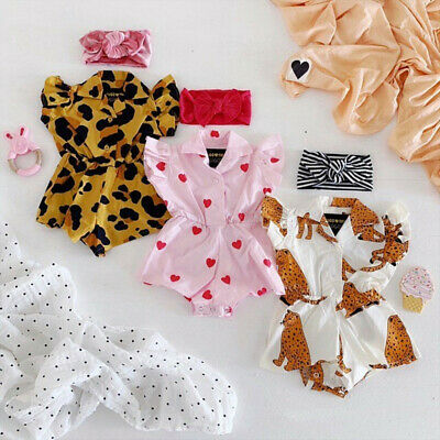 Newborn Baby Girl Child Cute Printed Short Sleeves Romper Bodysuit Outfit Clothe
