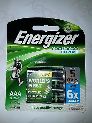 AAA Energizer Rechargeable 4 pack batteries 1.2V 800mAh (various quantities)