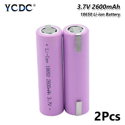 2Pcs Rechargeable Li-Ion Battery 18650 3.7V 2600Mah With Tabs For Headlamp Toy