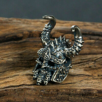 Handmade Silver Viking Pirate Skull Bead Retro Punk Rocker Biker Pendant