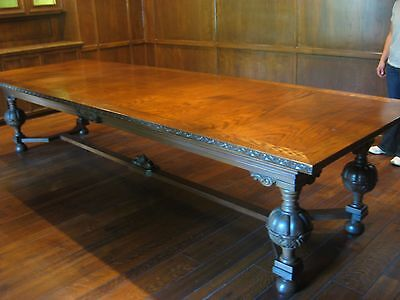 """Magnificent Antique Oak Wood Dining Table Boardroom Conf 144"""" x 48"""" x 31"""" Chairs"""
