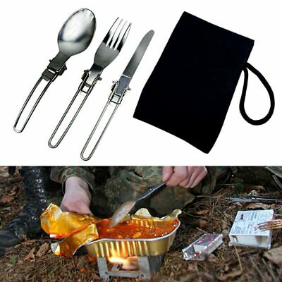 a68cb626b468 STAINLESS STEEL SPOON Foldable Cookout Tableware Traveling Camping ...