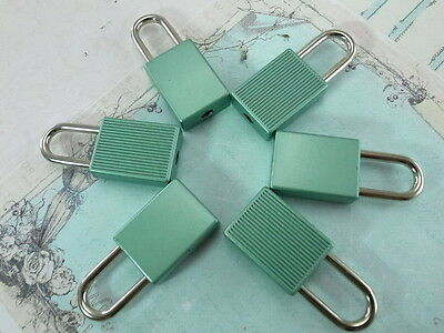 (6 pcs) Mini Padlock MATT GREEN COLOR Small Tiny Box Lock with Keys - NEW