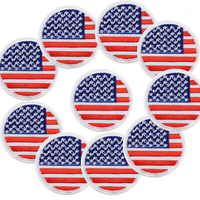 9e63d5d7071 Lot 10 Pcs Embroidery United States US Flag Iron Sew On Patch Applique  Fabric