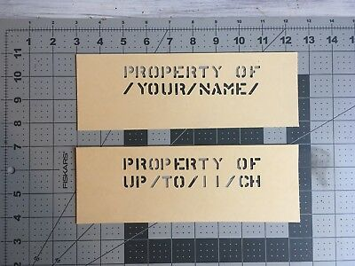 Lot of (2) PROPERTY OF / YOUR NAME Custom Oil Board Military Ammo Can Stencil