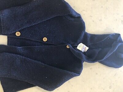 Sprout size 0 / 6-12 month navy hooded cardigan unisex