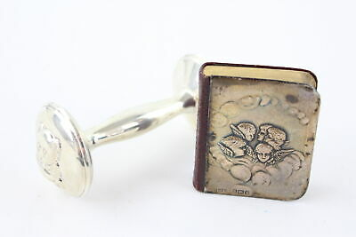 2 x Vintage Hallmarked .925 STERLING SILVER Babies Rattle, Covered Bible 65g
