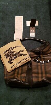 d1fe119d95 Burberry Weatherby Hobo Bag-Smoked Check Chain Medium- Black/brown Msrp  $1,095