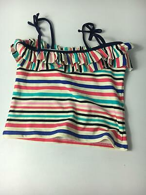 Girls M&S Multi Colour Stripe 1 Piece Tankini Top Age 12-13 Swimsuit