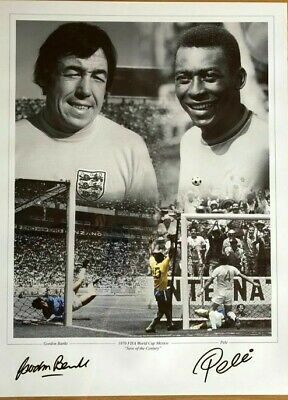 "Pele & Gordon Banks SIGNED 24x18"" World Cup 1970 Save of the Century England"