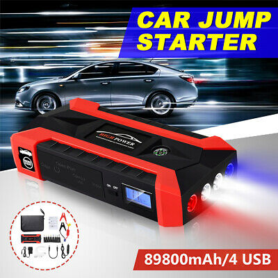 Portable 89800mAh Car Jump Starter Booster Charger Battery 4 USB Power Bank