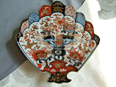 19th C. Japanese Pottery Fan shaped Plate, in the Imari Palette, 8 inch long