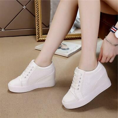a209fe79bc44 Womens Ladies Lace Up Hidden Wedge Heel Platform Sneaker Tennis Stylish  Shoes