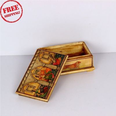 Old Bone Hand Crafted King Queen & Animals Design Hand Painted Powder Box 1527