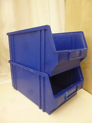 2 x Free Standing & Stackable Plastic Parts Storage Bins Boxes Box strong robust