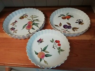 """Royal Worcester Evesham Gold China 3 x Flan Dishes 7.5"""" 9"""" & 10"""" Inches"""
