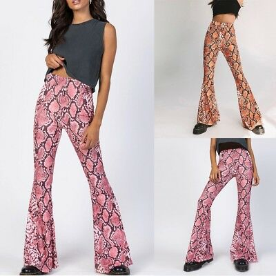 Fashion Women's Sexy Leopard Pack Hip Stretch Wild Elastic Waist Flare Pants US