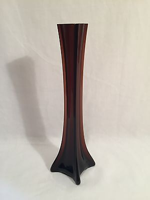 Retro Vintage Pink / Brown Tall Elegant Single Stem Glass Vase, 2