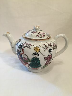 Small Vintage Antique Japanese Kutani Tea Pot, Signed Japan On Base