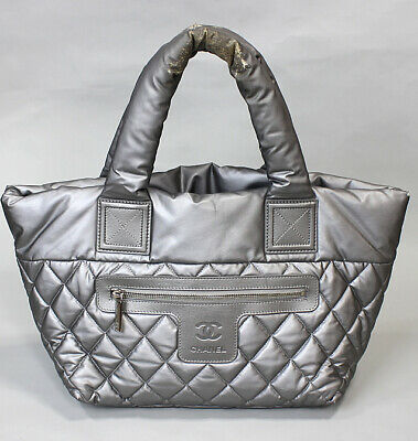 c9f9ec6e5030 CHANEL Coco Cocoon Quilted Nylon Tote Bag Silver #45173 free shipping from  Japan