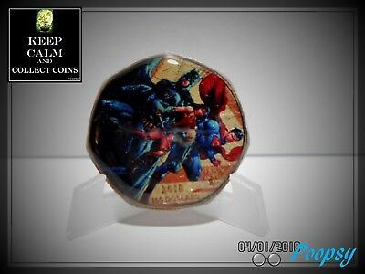 ENAMELLED COIN SUPER HERO JUSTICE LEAGUE 50p FIFTY PENCE G