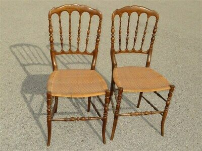 Pair Of Chiavari Featherweight Hand Made Chairs Caned Seats