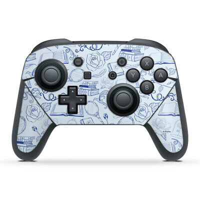 Nintendo Switch Pro Controller Folie Aufkleber Beauty and Beast pattern blue