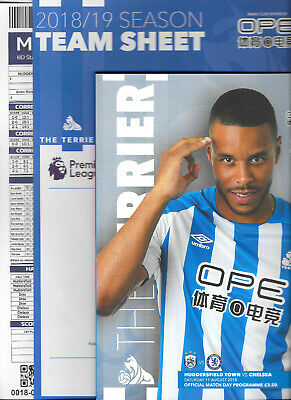 Huddersfield Town v Chelsea Premier League 2018/19 with official teamsheet