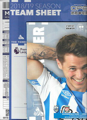 Huddersfield Town v Liverpool Premier League 2018/19 with official teamsheet