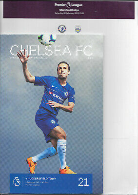 Chelsea v Huddersfield Town Premier League 2018/19 with official teamsheet
