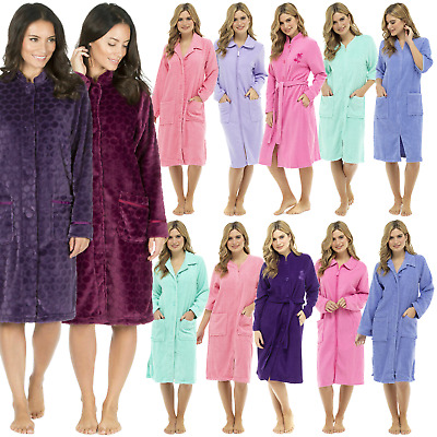 Ladies Long Zip UP Or Button Fleece Or Cotton Towelling Bath Robe Dressing Gown