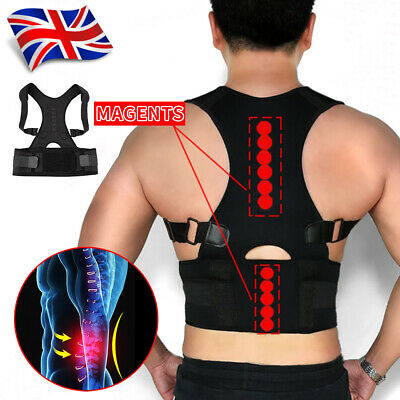Neoprene Magnetic Posture Corrector Back Lumbar Shoulder Support Brace Unisex UK