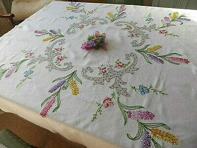 Vintage Hand Embroidered  Tablecloth -Stunning Spring Flowers - Beautiful Work