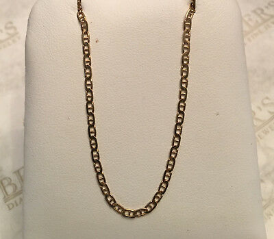 """10K Solid Yellow Gold Custom Mariner Choker Necklace Chain 2mm11-15/"""" Anchor Link"""