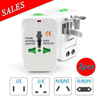2x World Universal Viaje Convertidor Adaptador Pared Enchufe Us UK Au Ue